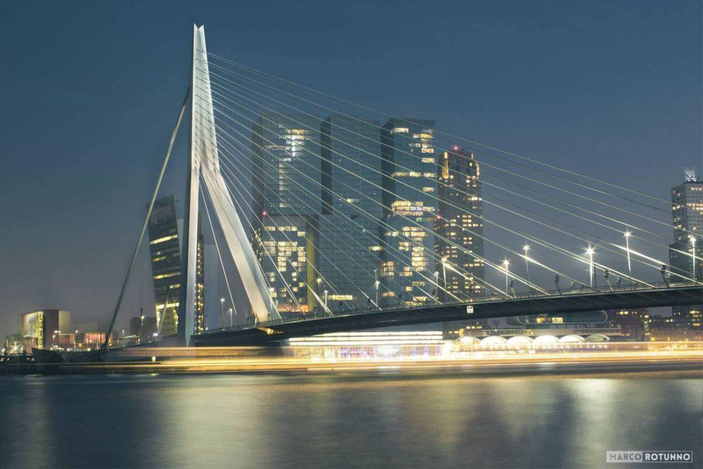 Rotterdam,-nightlife,-eramsus-bridge